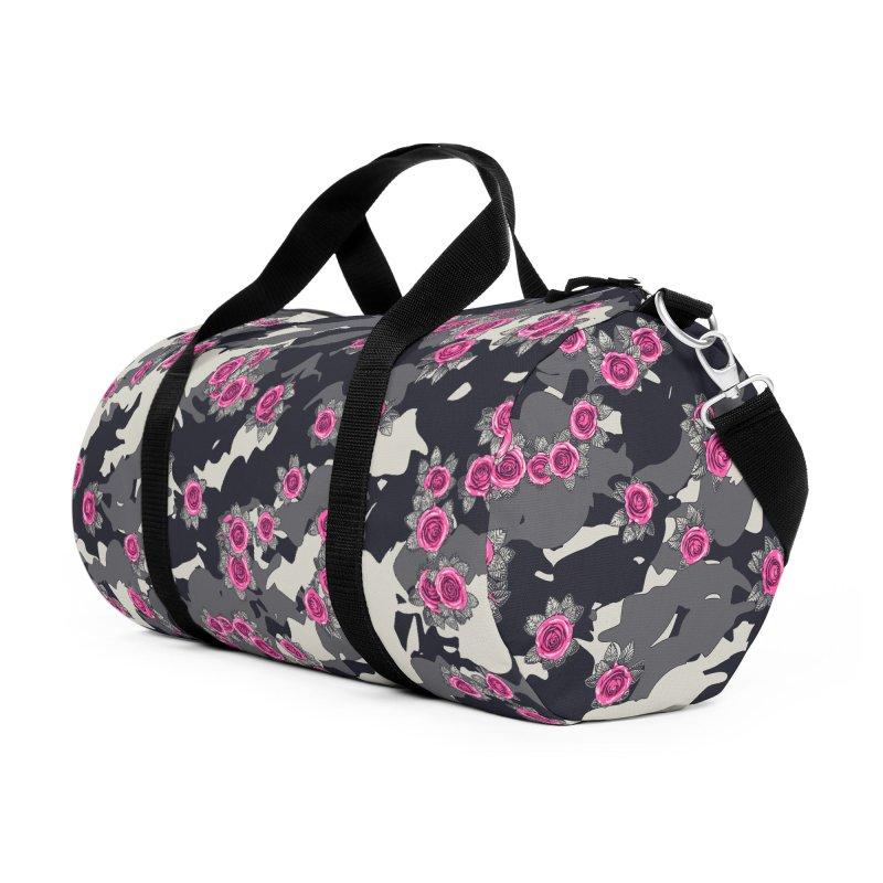 Roses Pink Camo URBAN VINTAGE Accessories Duffel Bag Bag by Grandio Design Artist Shop
