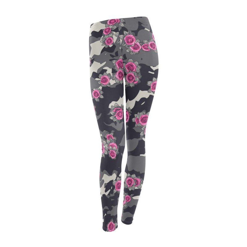 Roses Pink Camo URBAN VINTAGE Women's Leggings Bottoms by Grandio Design Artist Shop
