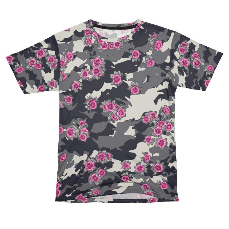 Roses Pink Camo URBAN VINTAGE Women's Unisex T-Shirt Cut & Sew by Grandio Design Artist Shop