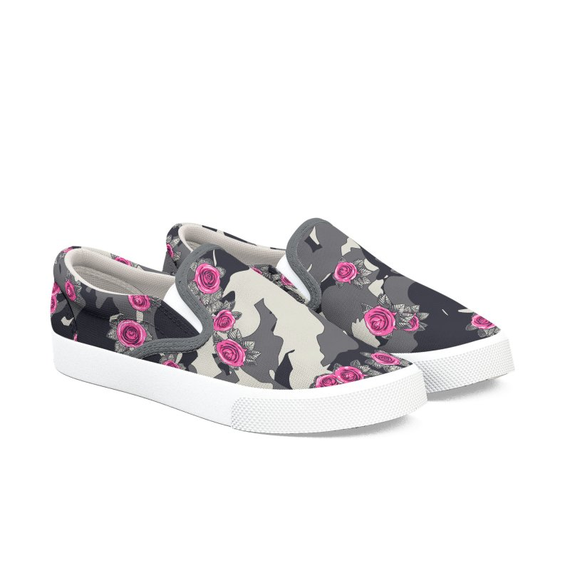 Roses Pink Camo URBAN VINTAGE Men's Slip-On Shoes by Grandio Design Artist Shop