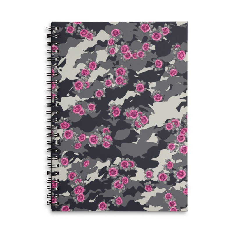 Roses Pink Camo URBAN VINTAGE Accessories Lined Spiral Notebook by Grandio Design Artist Shop