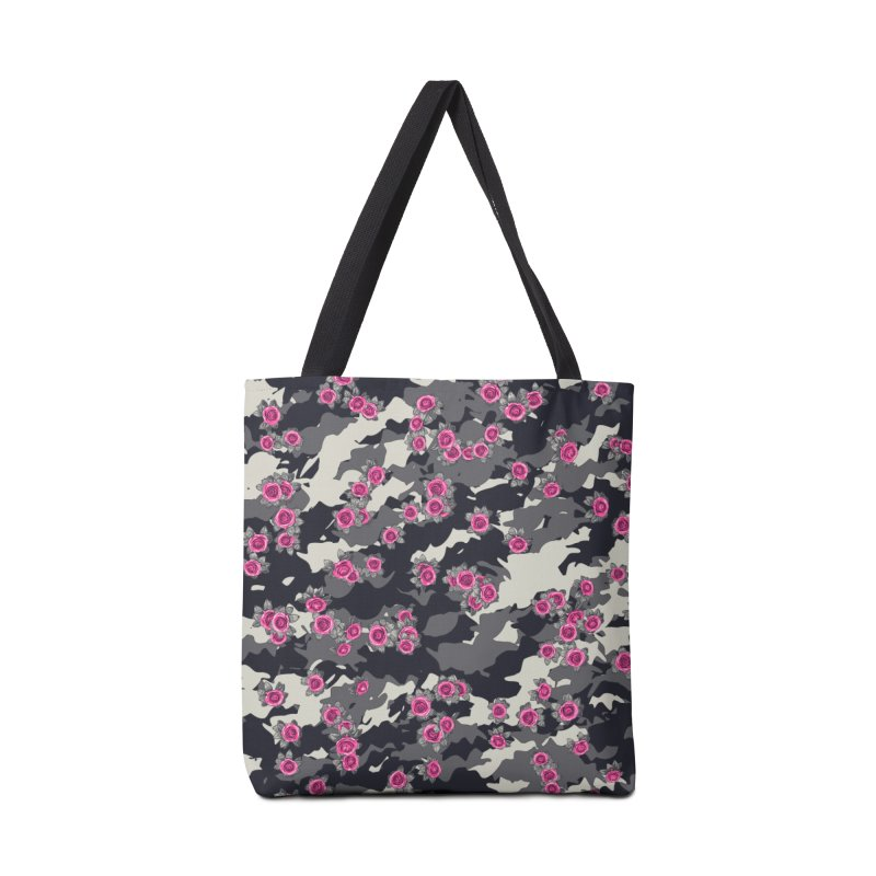 Roses Pink Camo URBAN VINTAGE Accessories Tote Bag Bag by Grandio Design Artist Shop