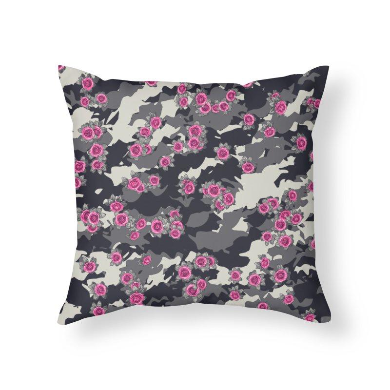 Roses Pink Camo URBAN VINTAGE Home Throw Pillow by Grandio Design Artist Shop
