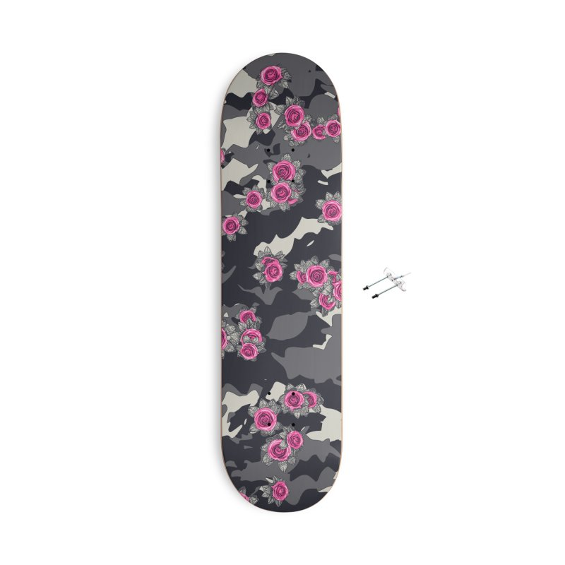 Roses Pink Camo URBAN VINTAGE Accessories With Hanging Hardware Skateboard by Grandio Design Artist Shop