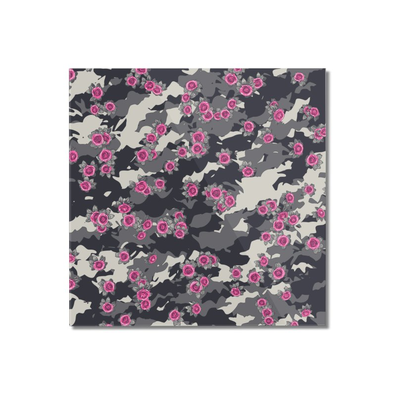 Roses Pink Camo URBAN VINTAGE Home Mounted Acrylic Print by Grandio Design Artist Shop