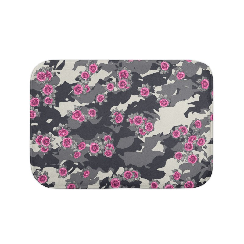 Roses Pink Camo URBAN VINTAGE Home Bath Mat by Grandio Design Artist Shop