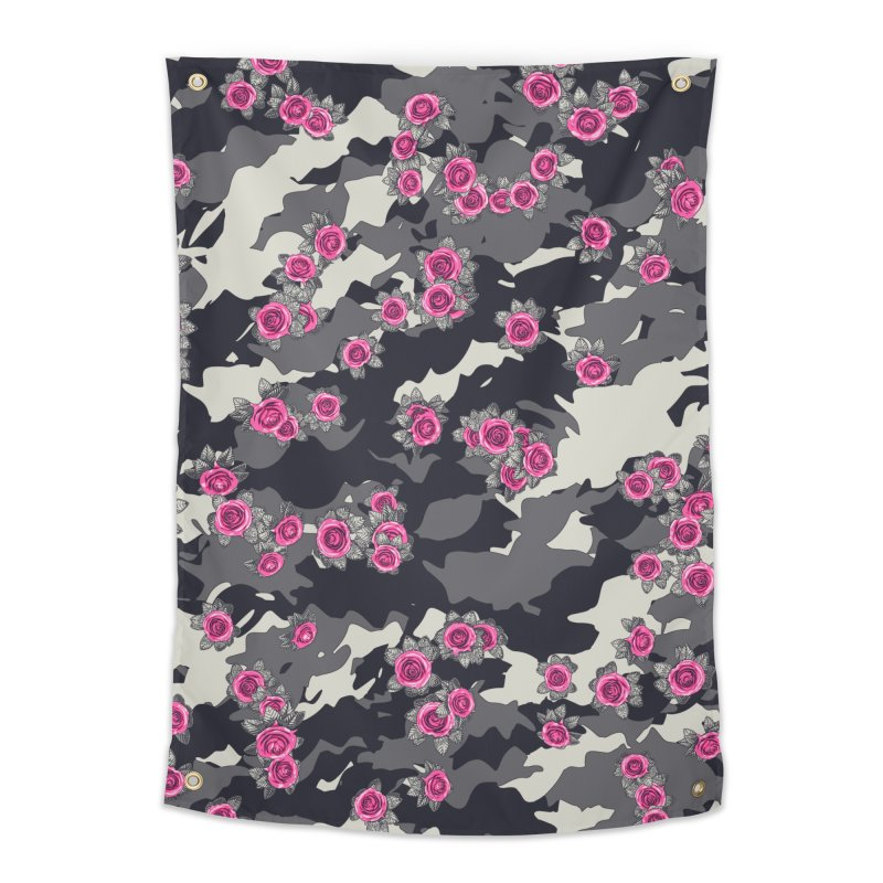 Roses Pink Camo URBAN VINTAGE Home Tapestry by Grandio Design Artist Shop