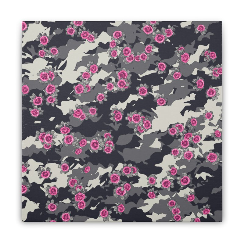 Roses Pink Camo URBAN VINTAGE Home Stretched Canvas by Grandio Design Artist Shop