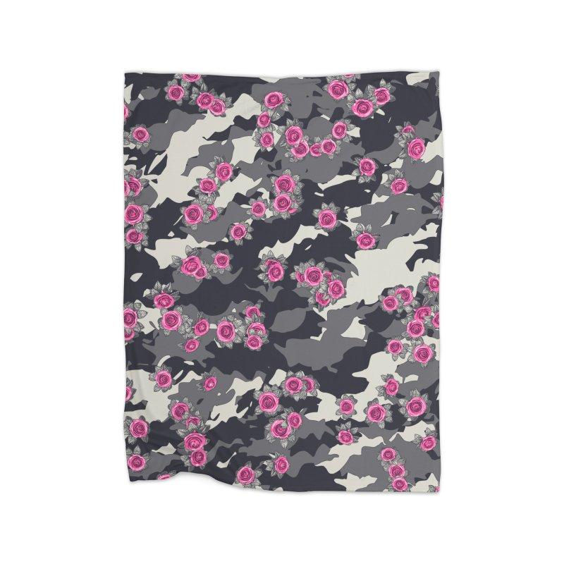 Roses Pink Camo URBAN VINTAGE Home Fleece Blanket Blanket by Grandio Design Artist Shop