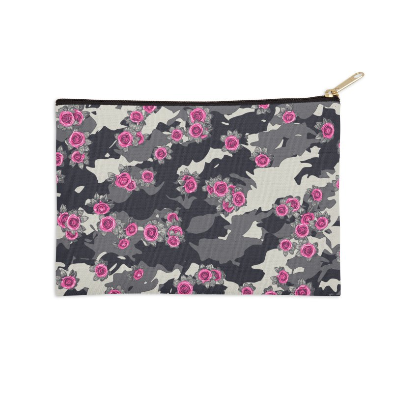 Roses Pink Camo URBAN VINTAGE Accessories Zip Pouch by Grandio Design Artist Shop