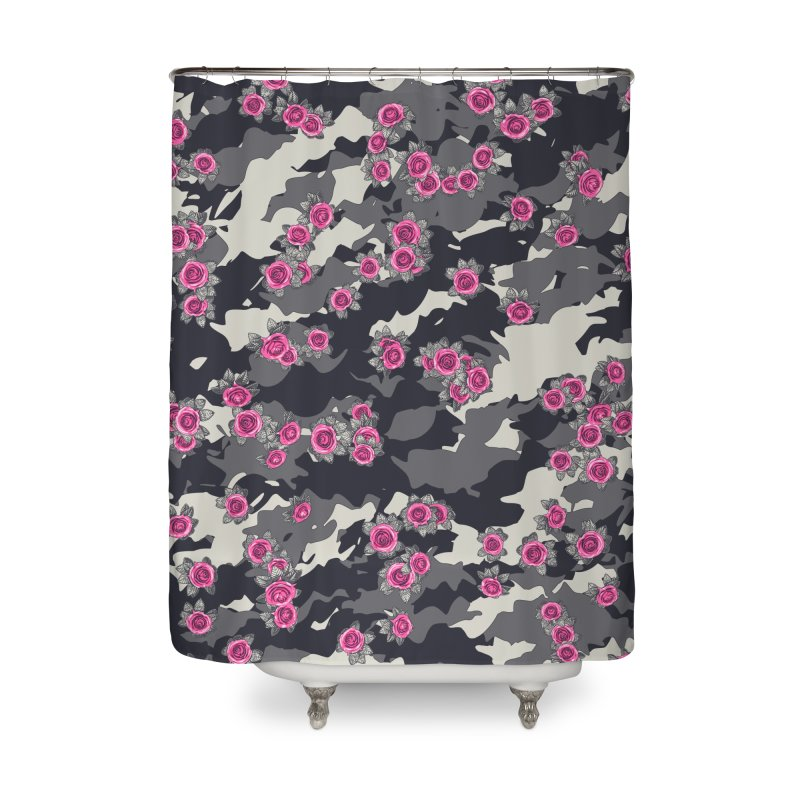 Roses Pink Camo URBAN VINTAGE Home Shower Curtain by Grandio Design Artist Shop