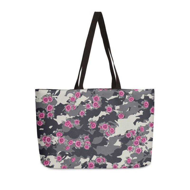Roses Pink Camo URBAN VINTAGE Accessories Weekender Bag Bag by Grandio Design Artist Shop