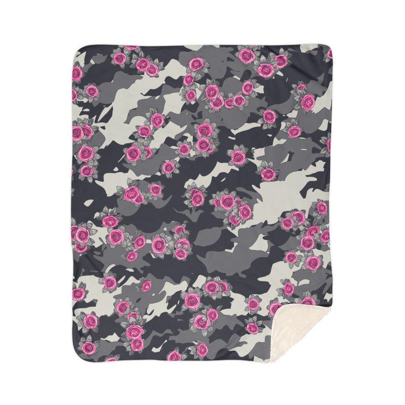 Roses Pink Camo URBAN VINTAGE Home Sherpa Blanket Blanket by Grandio Design Artist Shop