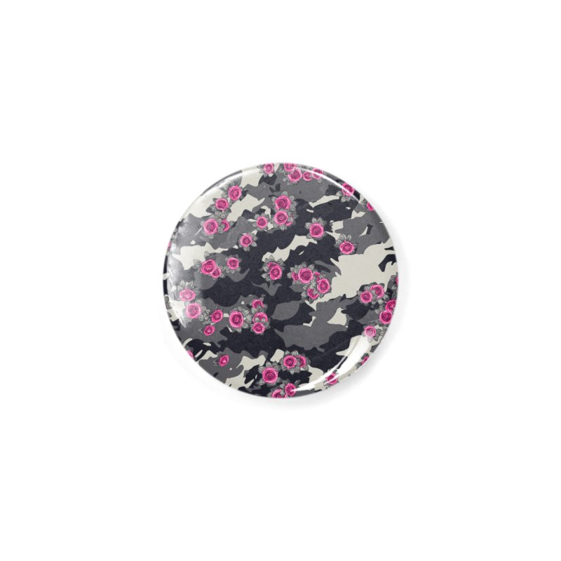 Roses Pink Camo URBAN VINTAGE Accessories Button by Grandio Design Artist Shop