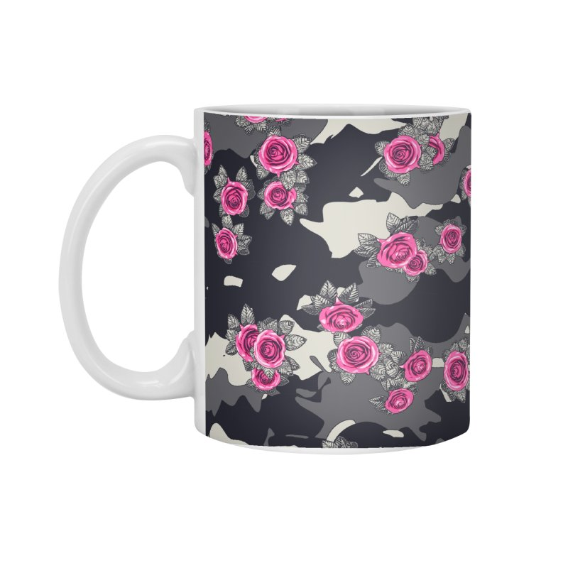 Roses Pink Camo URBAN VINTAGE Accessories Standard Mug by Grandio Design Artist Shop