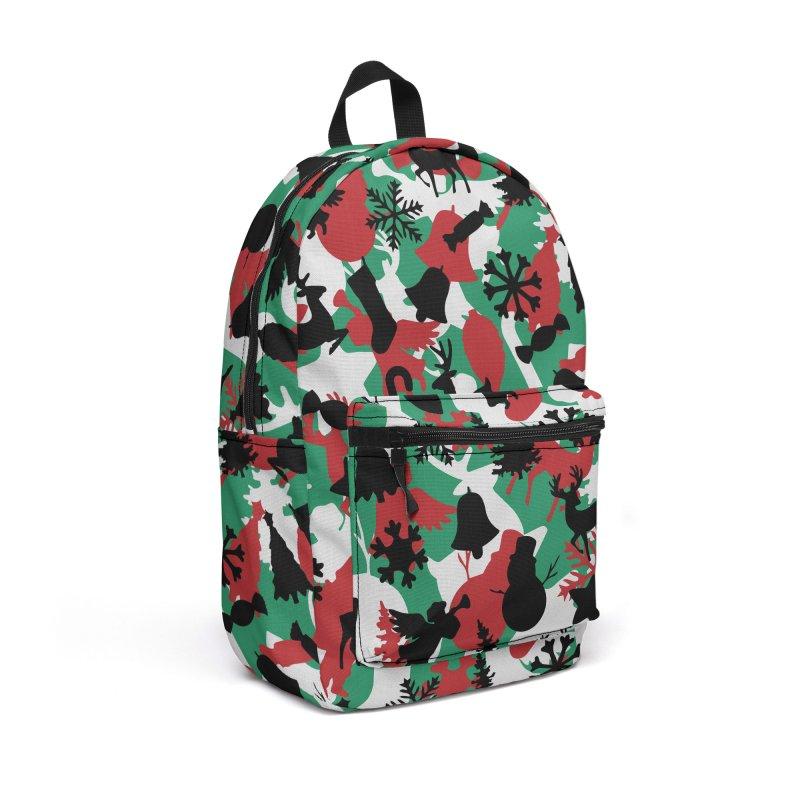 Christmas Camo WINTER WOODLAND Accessories Backpack Bag by Grandio Design Artist Shop