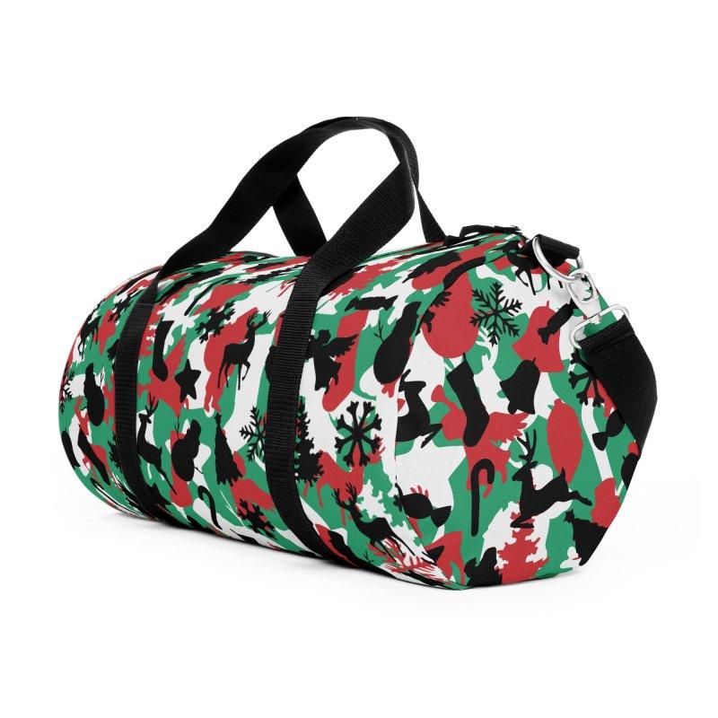 Christmas Camo WINTER WOODLAND Accessories Duffel Bag Bag by Grandio Design Artist Shop