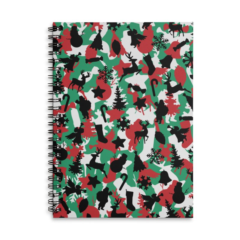 Christmas Camo WINTER WOODLAND Accessories Lined Spiral Notebook by Grandio Design Artist Shop