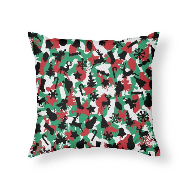 Christmas Camo WINTER WOODLAND Home Throw Pillow by Grandio Design Artist Shop