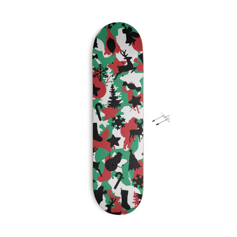 Christmas Camo WINTER WOODLAND Accessories With Hanging Hardware Skateboard by Grandio Design Artist Shop