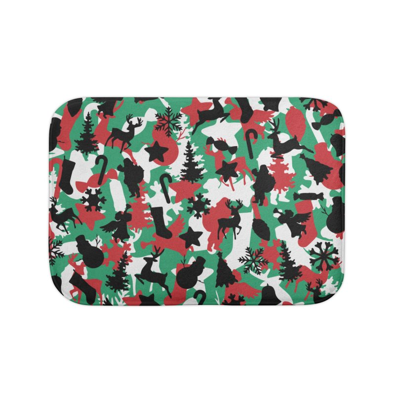Christmas Camo WINTER WOODLAND Home Bath Mat by Grandio Design Artist Shop