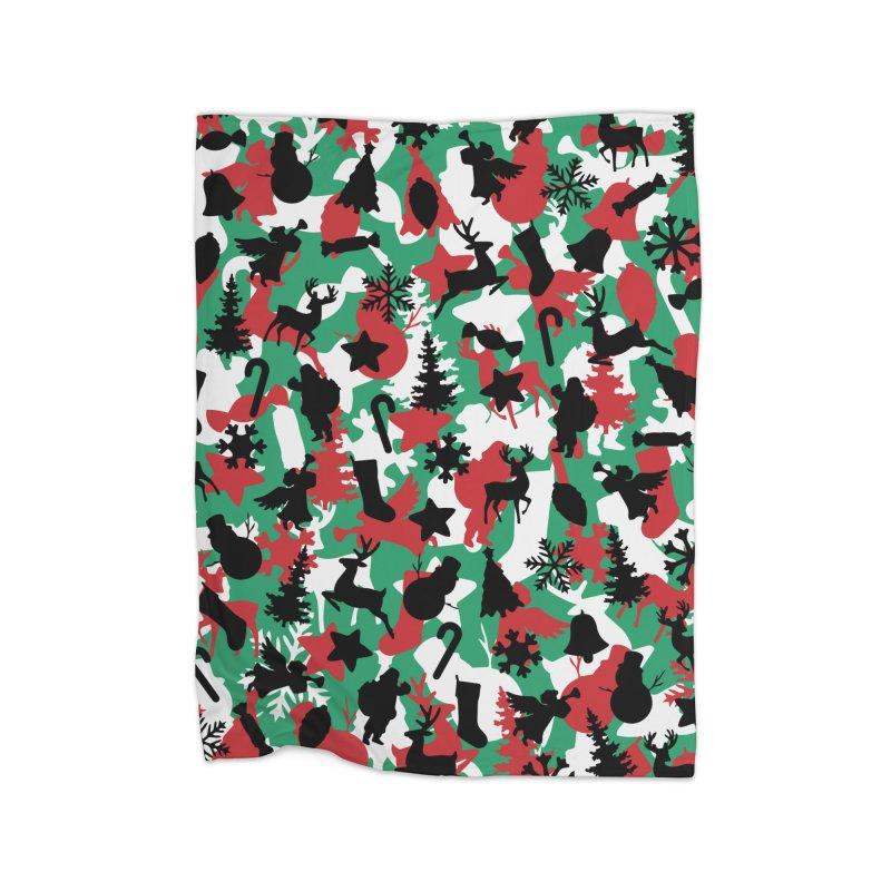 Christmas Camo WINTER WOODLAND Home Fleece Blanket Blanket by Grandio Design Artist Shop