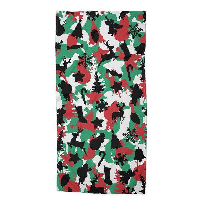 Christmas Camo WINTER WOODLAND Accessories Beach Towel by Grandio Design Artist Shop