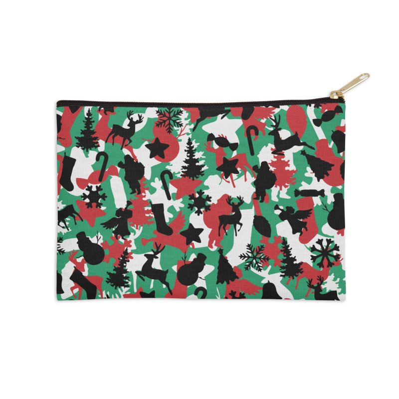 Christmas Camo WINTER WOODLAND Accessories Zip Pouch by Grandio Design Artist Shop