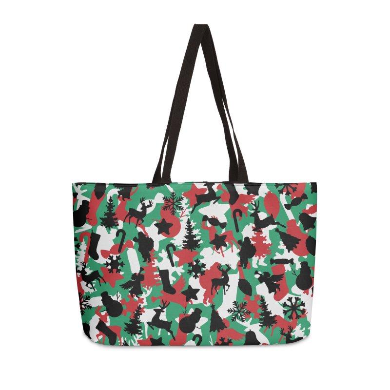 Christmas Camo WINTER WOODLAND Accessories Weekender Bag Bag by Grandio Design Artist Shop