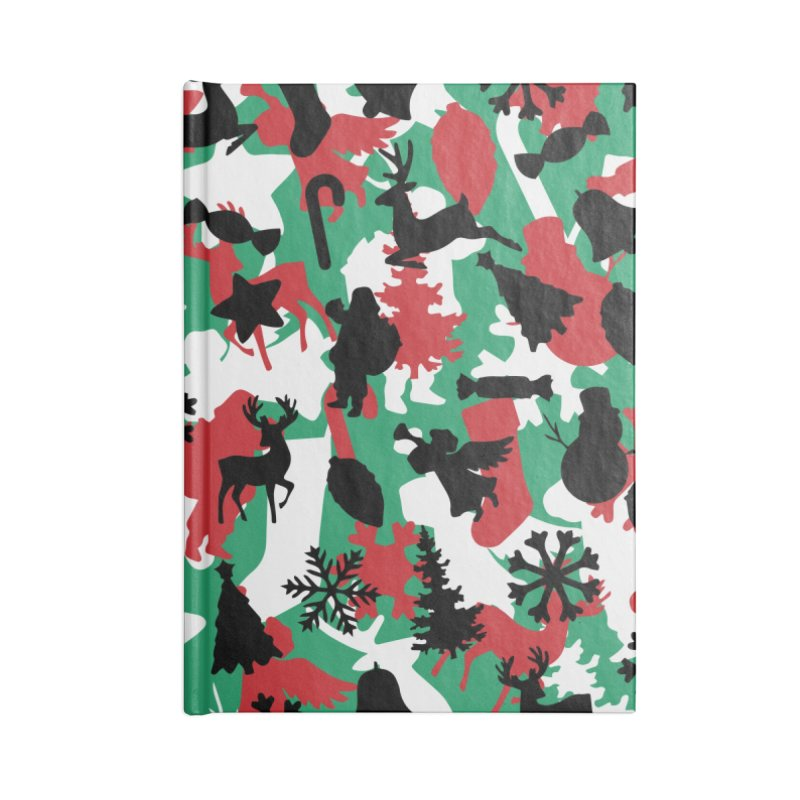 Christmas Camo WINTER WOODLAND Accessories Lined Journal Notebook by Grandio Design Artist Shop