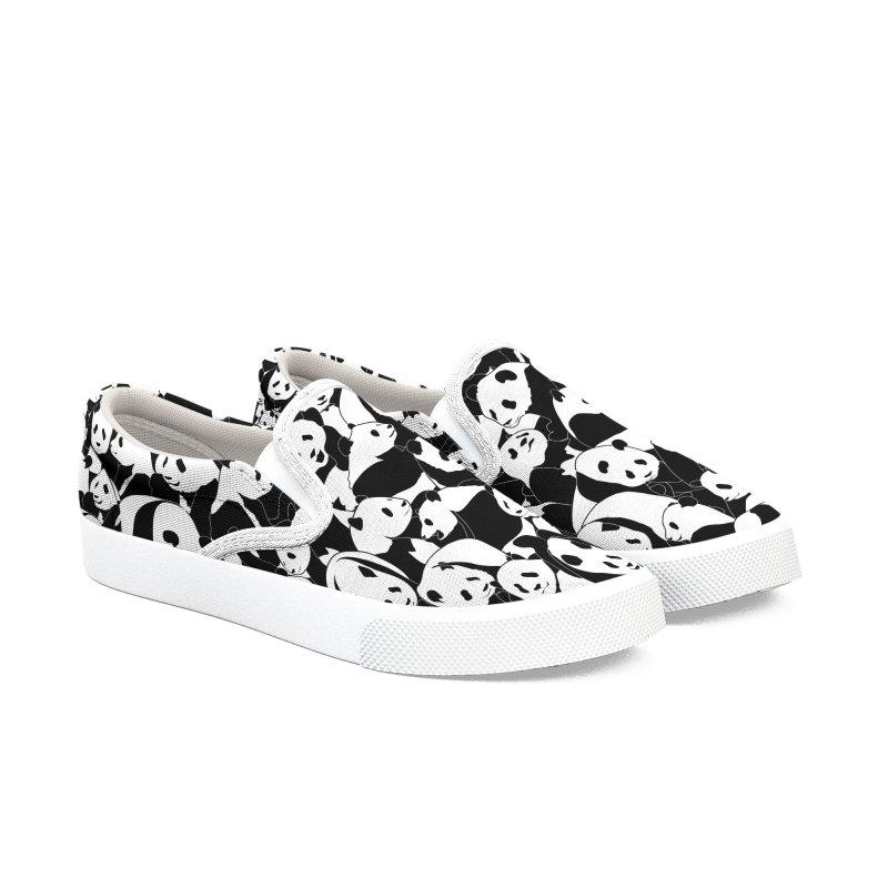Less Hate More Panda Women's Slip-On Shoes by Grandio Design Artist Shop