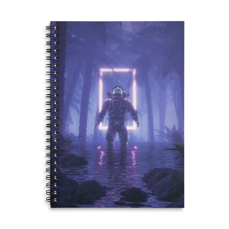 Lost In The Neon Jungle Accessories Lined Spiral Notebook by Grandio Design Artist Shop