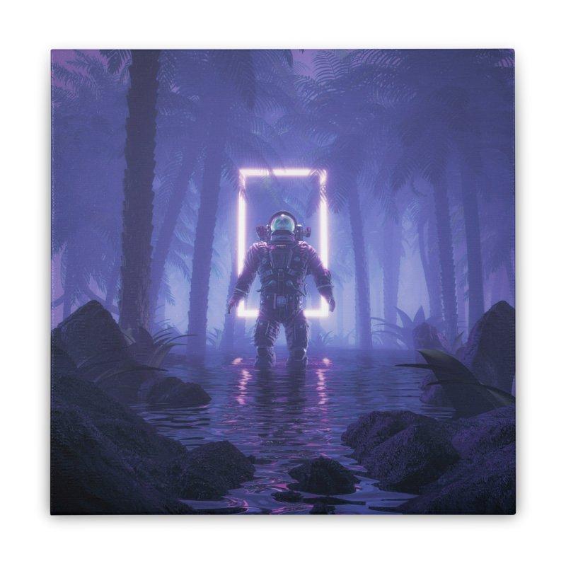 Lost In The Neon Jungle Home Stretched Canvas by Grandio Design Artist Shop