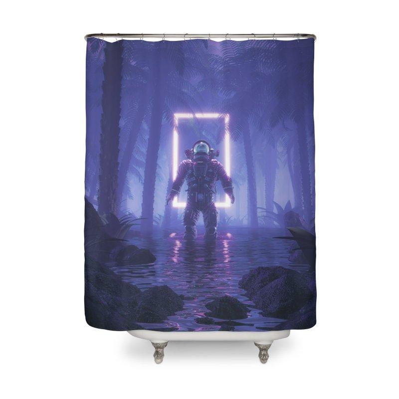 Lost In The Neon Jungle Home Shower Curtain by Grandio Design Artist Shop