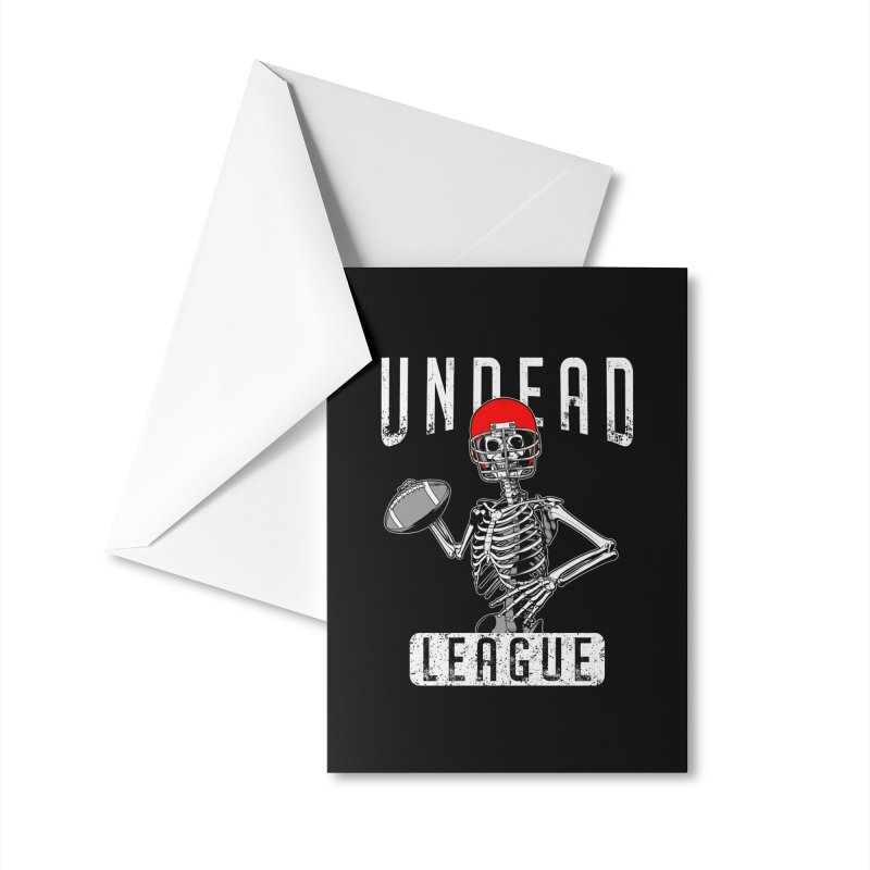 Undead Football League Player Halloween Zombie Skeleton Accessories Greeting Card by Grandio Design Artist Shop