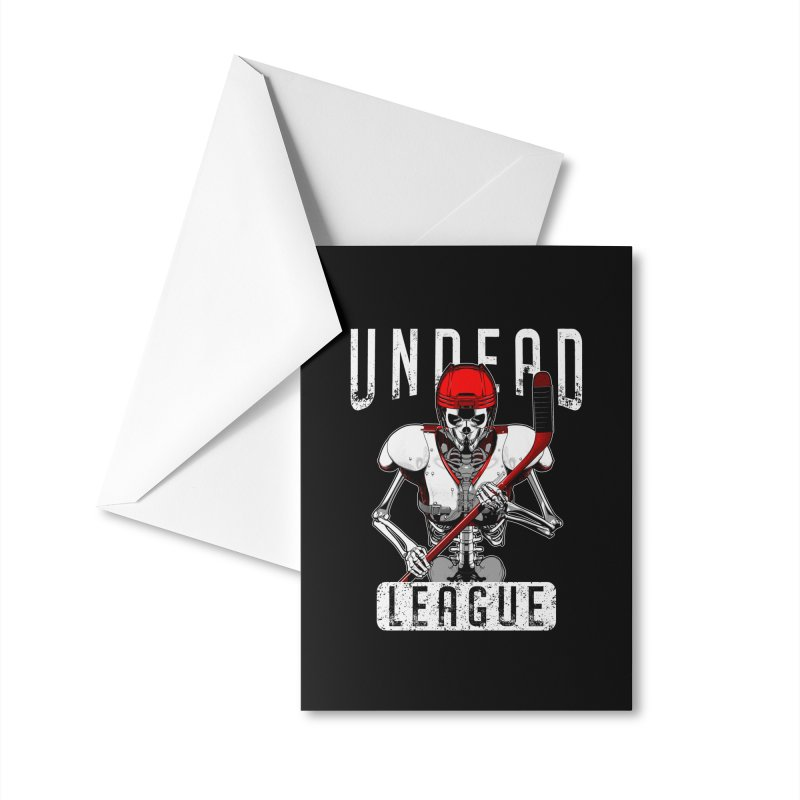 Undead Ice Hockey League Player Halloween Zombie Skeleton Accessories Greeting Card by Grandio Design Artist Shop