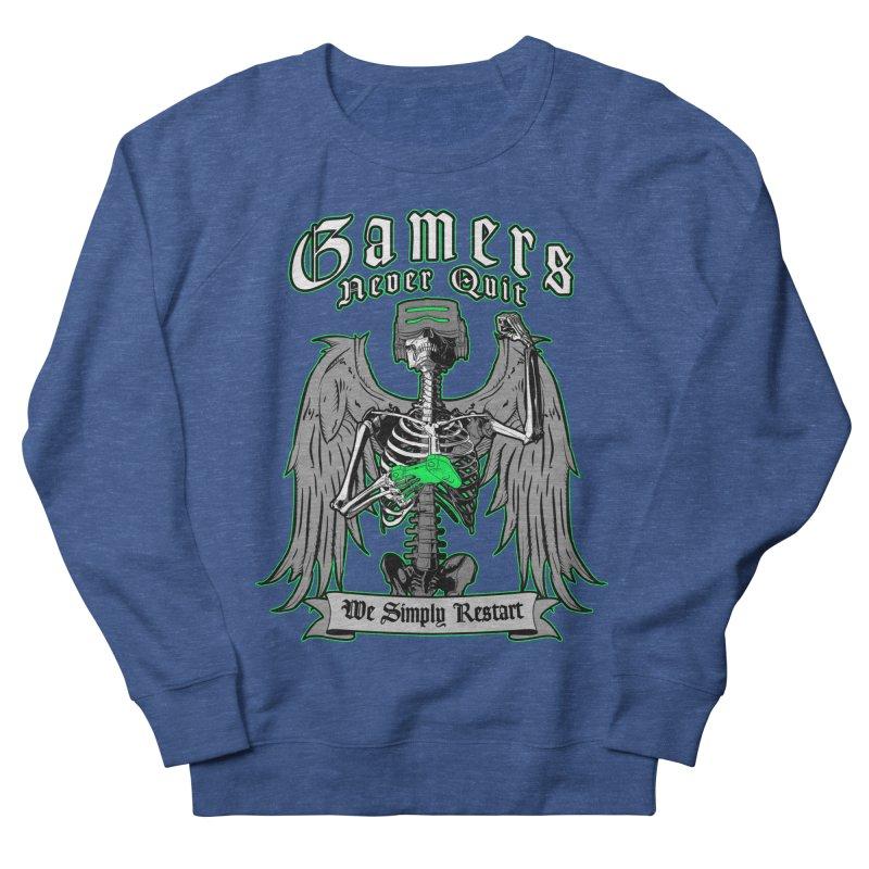 Gamers Never Quit We Simply Restart Gamer Angel Skeleton Men's Sweatshirt by Grandio Design Artist Shop