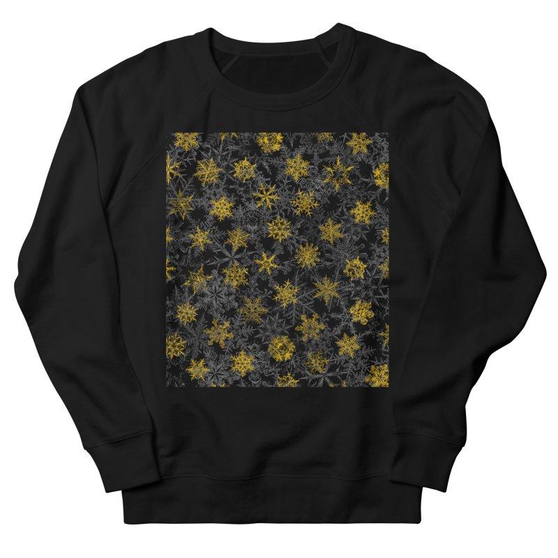 Snowflake Winter Queen Ornate Snow Crystals Pattern Black Men's Sweatshirt by Grandio Design Artist Shop