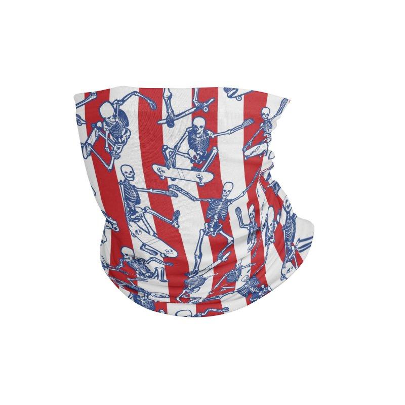 Skater USA American Flag Skateboarding Skeletons Pattern Accessories Neck Gaiter by Grandio Design Artist Shop