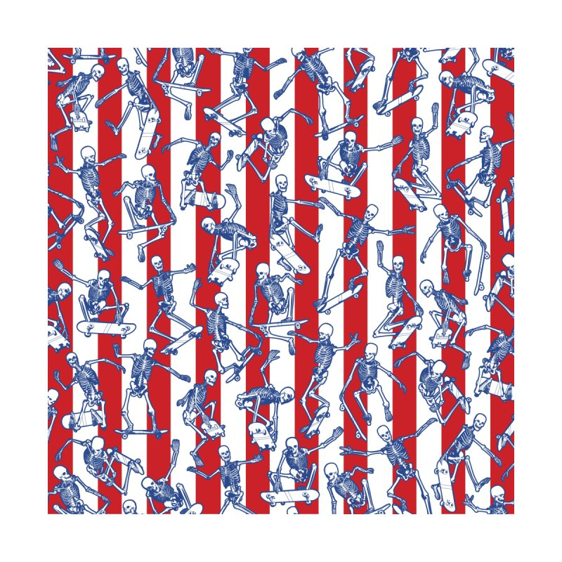 Skater USA American Flag Skateboarding Skeletons Pattern Home Fine Art Print by Grandio Design Artist Shop