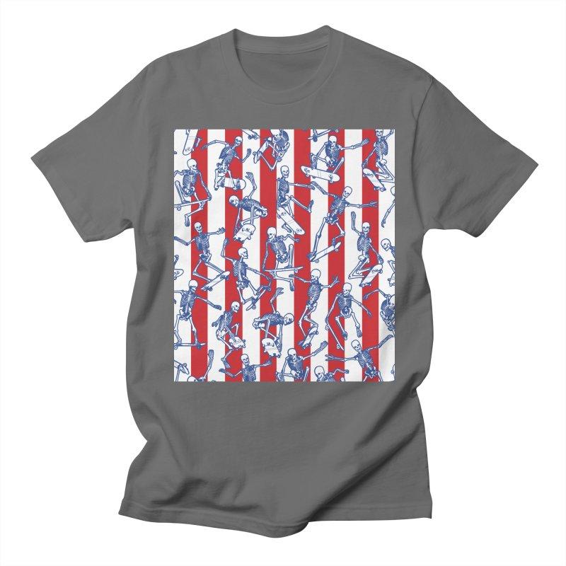 Skater USA American Flag Skateboarding Skeletons Pattern Men's T-Shirt by Grandio Design Artist Shop
