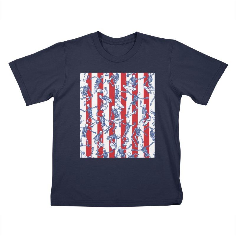 Skater USA American Flag Skateboarding Skeletons Pattern Kids T-Shirt by Grandio Design Artist Shop