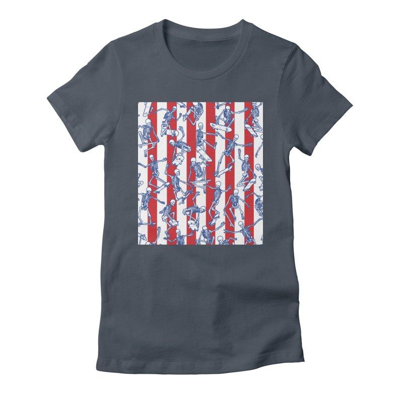Skater USA American Flag Skateboarding Skeletons Pattern Women's T-Shirt by Grandio Design Artist Shop