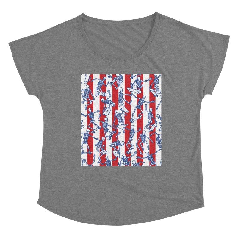 Skater USA American Flag Skateboarding Skeletons Pattern Women's Scoop Neck by Grandio Design Artist Shop