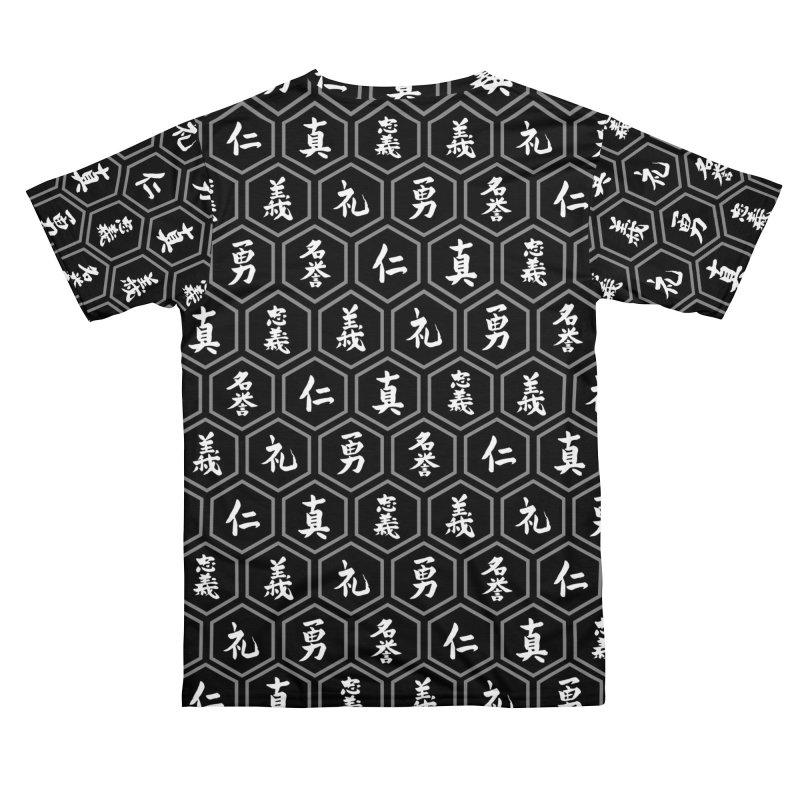 Bushido Seven Virtues Japanese Samurai Kanji Pattern Hex BLACK Men's Cut & Sew by Grandio Design Artist Shop