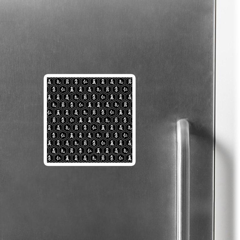 Bushido Seven Virtues Japanese Samurai Kanji Pattern Hex BLACK Accessories Magnet by Grandio Design Artist Shop