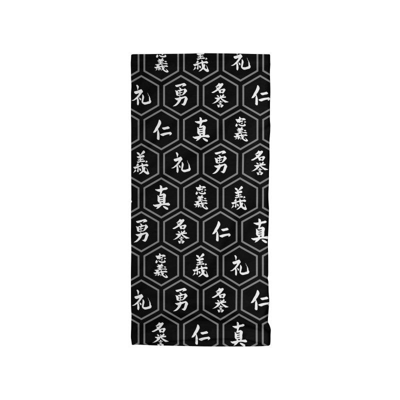 Bushido Seven Virtues Japanese Samurai Kanji Pattern Hex BLACK Accessories Neck Gaiter by Grandio Design Artist Shop