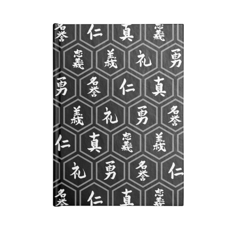 Bushido Seven Virtues Japanese Samurai Kanji Pattern Hex BLACK Accessories Notebook by Grandio Design Artist Shop
