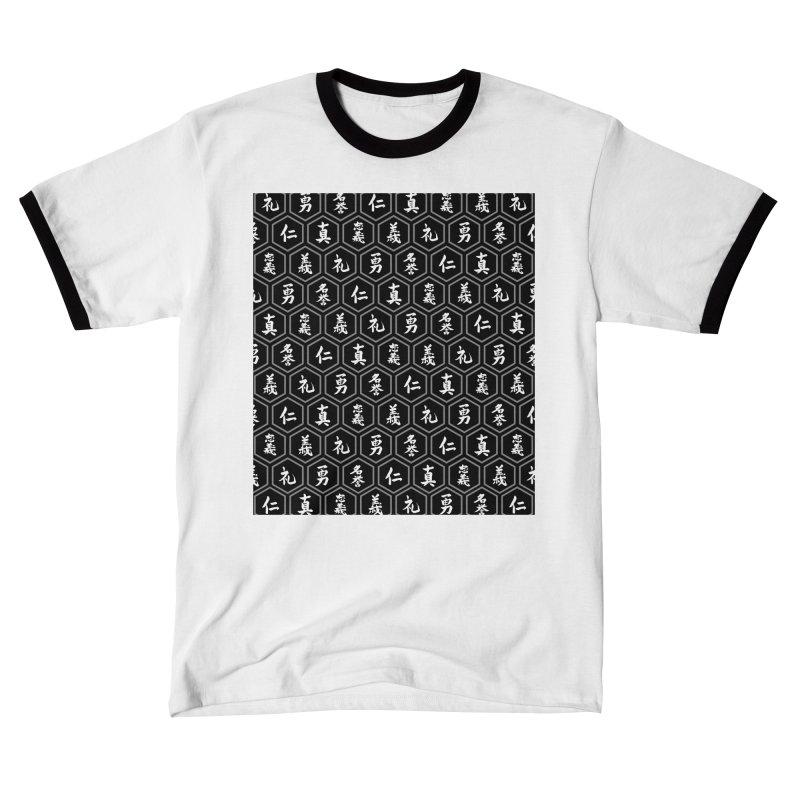 Bushido Seven Virtues Japanese Samurai Kanji Pattern Hex BLACK Men's T-Shirt by Grandio Design Artist Shop
