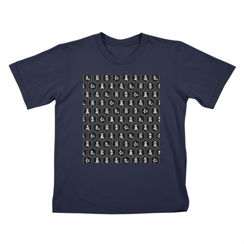 Bushido Seven Virtues Japanese Samurai Kanji Pattern Hex BLACK Kids T-Shirt by Grandio Design Artist Shop